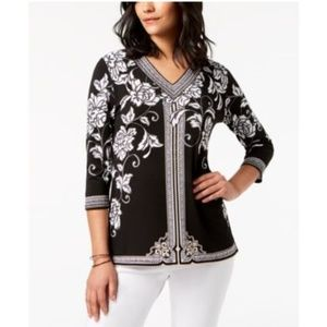 JM Collection Embellished V-Neck 3/4 Sleeve Top